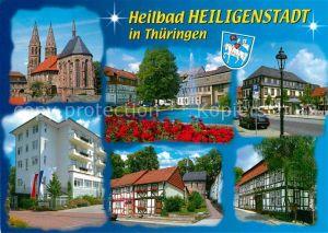 AK / Ansichtskarte Heiligenstadt Eichsfeld Teilansichten Heilbad Kirche Fachwerkhaeuser Springbrunnen Kat. Heiligenstadt