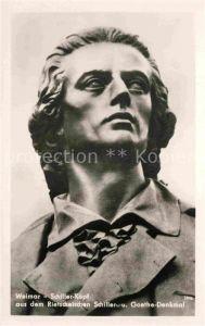 AK / Ansichtskarte Schiller Friedrich Weimar Schiller Kopf Denkmal  Kat. Dichter