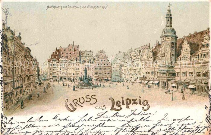 AK / Ansichtskarte Leipzig Marktplatz Rathaus Siegesdenkmal  Kat. Leipzig