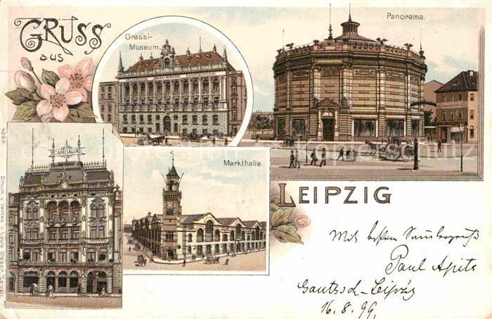litho leipzig in sachsen augustusplatz cafe bauer harmonie panorama bibliothek nr 1901807. Black Bedroom Furniture Sets. Home Design Ideas