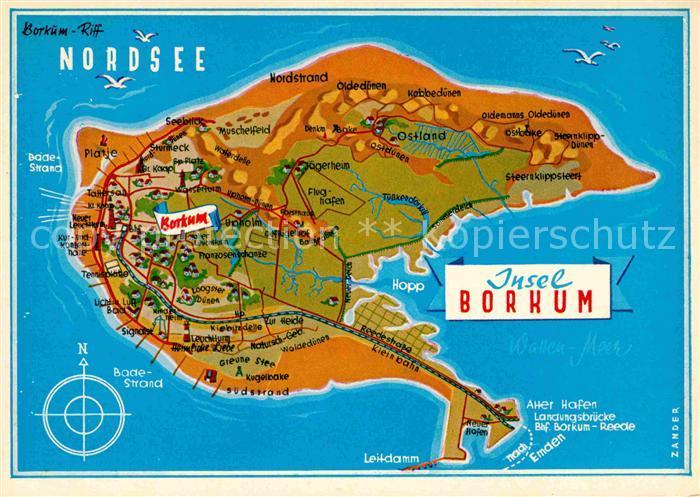 Ak Ansichtskarte Borkum Nordseebad Nordseeinsel Landkarte Kat