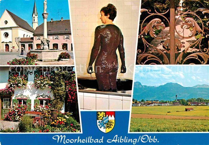 AK / Ansichtskarte Bad Aibling Platz Brunnen Kirche Blumenschmuck Moorheilbad Kuranwendung Alpenpanorama Kat. Bad Aibling