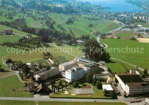 AK / Ansichtskarte Immensee Fliegeraufnahme Missionshaus Bethlehem Hohle Gasse mit Kuessnacht am Rigi Kat. Immensee