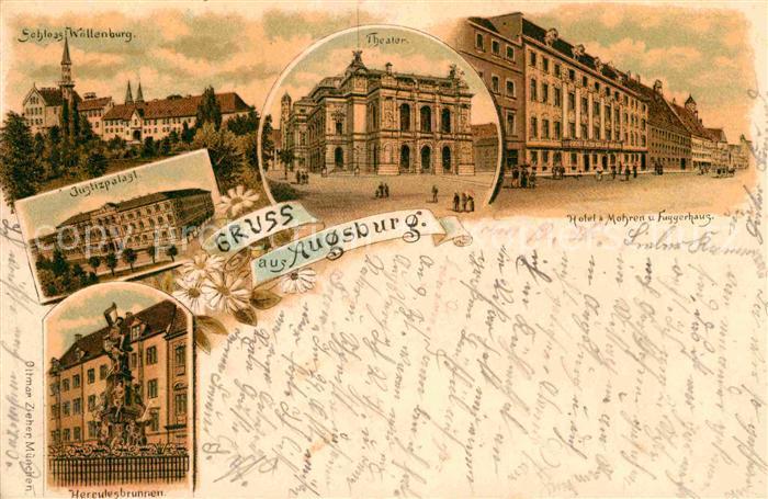 AK / Ansichtskarte Augsburg Herkulesbrunnen Schloss Wollenburg Theater Hotel 3 Mohren  Kat. Augsburg