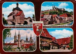AK / Ansichtskarte Bamberg Altes Rathaus Regnitz mit Michelsberg Dom Alte Hofhaltung Kat. Bamberg
