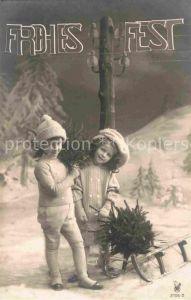 AK / Ansichtskarte Foto RPH Nr. 2705 2 Kinder Schlitten Weihnachten  Kat. Fotografie
