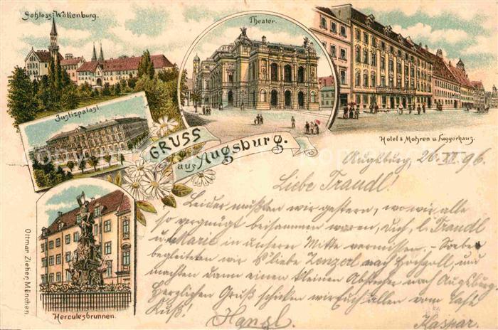 AK / Ansichtskarte Augsburg Hotel 3 Mohren Fuggerhaus Theater Schloss  Kat. Augsburg
