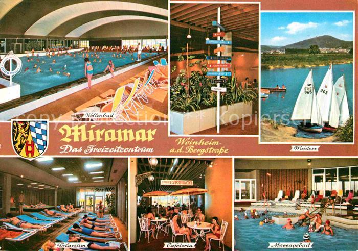 ak ansichtskarte weinheim bergstrasse miramar hallenba waidsee solarium cafeteria massagebad. Black Bedroom Furniture Sets. Home Design Ideas