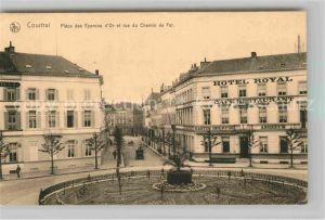 AK / Ansichtskarte Courtrai Flandre Place des Eperons d Or et rue du Chemin de Fer Kat. Kortrijk