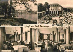 AK / Ansichtskarte Bad Salzungen Kurhaus am Burgsee Kurkonzert Kurhaus Speisesaal Kaffee Kat. Bad Salzungen