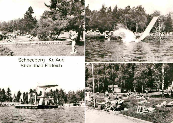 AK / Ansichtskarte Schneeberg Erzgebirge Strandbad Filzteich Sprungturm Rutsche Kat. Schneeberg