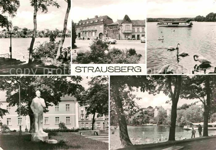 AK / Ansichtskarte Strausberg Brandenburg Straussee Grosse Strasse Faehre Leninplatz Denkmal Kat. Strausberg