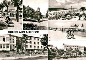 AK / Ansichtskarte Ahlbeck Ostseebad Konzertpavillon Stranduhr FDGB Erholungsheime Seebruecke Strand Kat. Heringsdorf Insel Usedom
