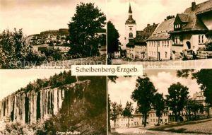 AK / Ansichtskarte Scheibenberg Panorama Grosse Kirchgasse Markt Orgelpfeifen Felsformationen Kat. Scheibenberg Erzgebirge