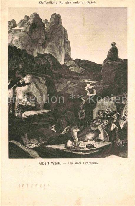 AK / Ansichtskarte Kuenstlerkarte Albert Welti Die drei Eremiten  Kat. Kuenstlerkarte