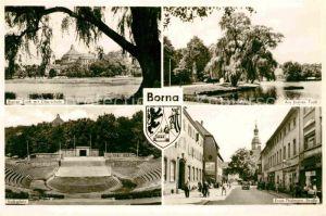 AK / Ansichtskarte Borna Leipzig Breiter Teich Oberschule Ernst Thaelmann Strasse Volksplatz Kat. Borna