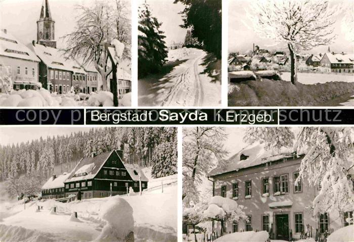 AK / Ansichtskarte Sayda Teilansichten Bergstadt Winterpanorama Erzgebirge Kat. Sayda