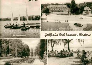AK / Ansichtskarte Pieskow Bad Saarow Bootsanleger Scharmuetzelsee Johannes R Becher Platz Strandbad Neptunbad Kat. Bad Saarow Pieskow