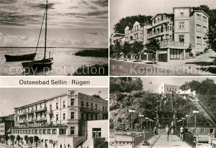 AK / Ansichtskarte Sellin Ruegen Bodden Segelschiff Erholungsheim Hotel Frieden Treppe zum Strand Kat. Sellin Ostseebad
