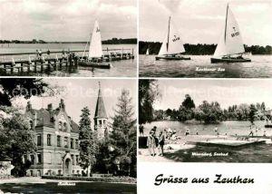AK / Ansichtskarte Zeuthen Rathaus Bootsanleger See Niersdorf Seebad Badestrand Segelboot Kat. Zeuthen
