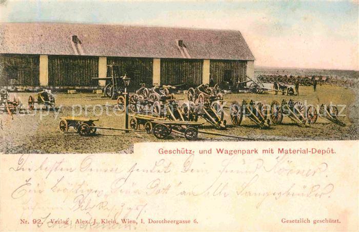 AK / Ansichtskarte Wien Geschuetz und Wagenpark mit Material Depot Kat. Wien