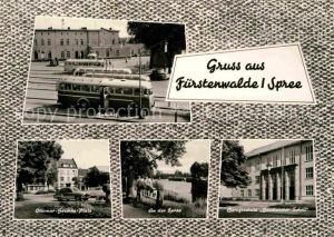 AK / Ansichtskarte Fuerstenwalde Spree Ottomar Geschke Platz Spreepartie Berufsschule Geschwister Scholl Kat. Fuerstenwalde