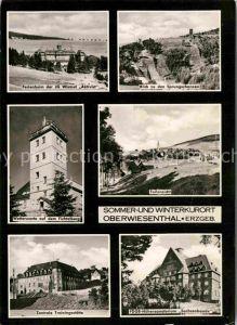 AK / Ansichtskarte Oberwiesenthal Erzgebirge Ferienheim IG Wismut Aktivist Sprungschanze Wetterwarte Fichtelberg Sanatorium Sachsenbaude Kat. Oberwiesenthal