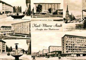 AK / Ansichtskarte Karl Marx Stadt Strasse der Nationen Industrie und Handelskammer Interhotel Moskau Kirche Hochhaeuser Brunnen Kat. Chemnitz