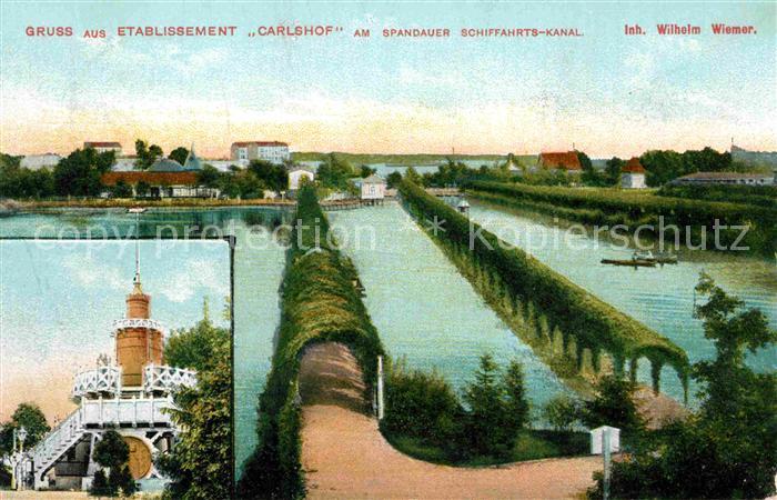 AK / Ansichtskarte Spandau Etablissement Carlshof am Spandauer Schiffahrts Kanal Kat. Berlin