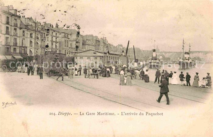 AK / Ansichtskarte Dieppe Seine Maritime La Gare Maritime L arrivee du Paquebot Kat. Dieppe