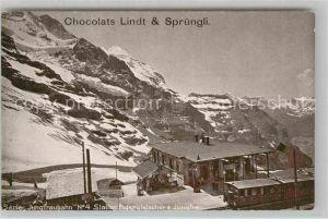AK / Ansichtskarte Jungfraubahn Station Eigergletscher Jungfrau Lindt & Spruengli Chocolats Kat. Jungfrau