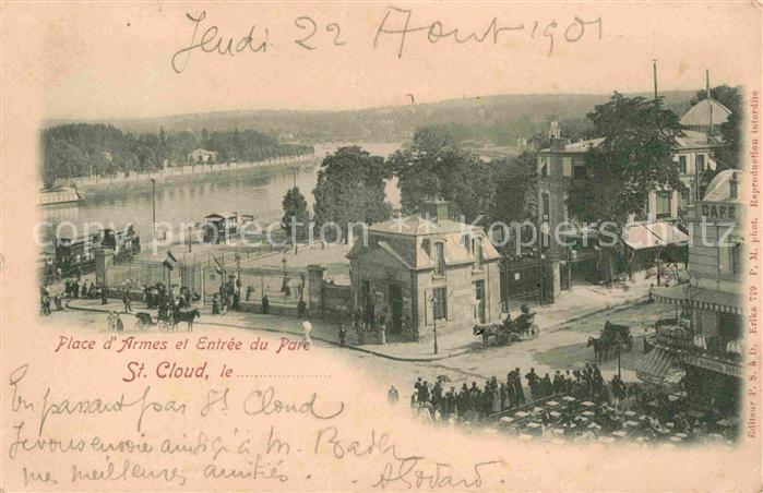 AK / Ansichtskarte Saint Cloud Hauts de Seine Place Armes et Entree du Parc Kat. Saint Cloud