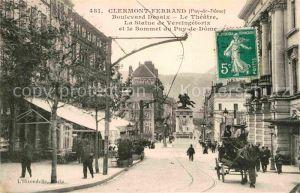 AK / Ansichtskarte Clermont Ferrand Puy de Dome Boulevard Desaix Le Theatre La Statue de Vercingetorix Kat. Clermont Ferrand