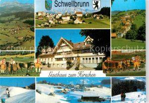 AK / Ansichtskarte Schwellbrunn Gasthaus zum Hirschen Ortsansicht mit Kirche Wintersportplatz Alpen Kat. Schwellbrunn