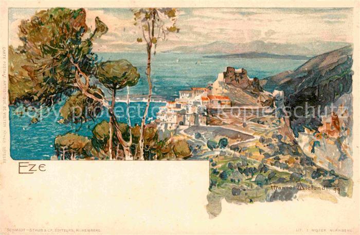 AK / Ansichtskarte Eze Alpes Maritimes Kuenstlerkarte Manuel Wielandt