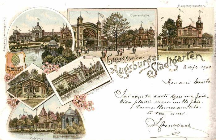 AK / Ansichtskarte Augsburg Cafehaus Stadtgarten Forsthaus Concerthalle  Kat. Augsburg