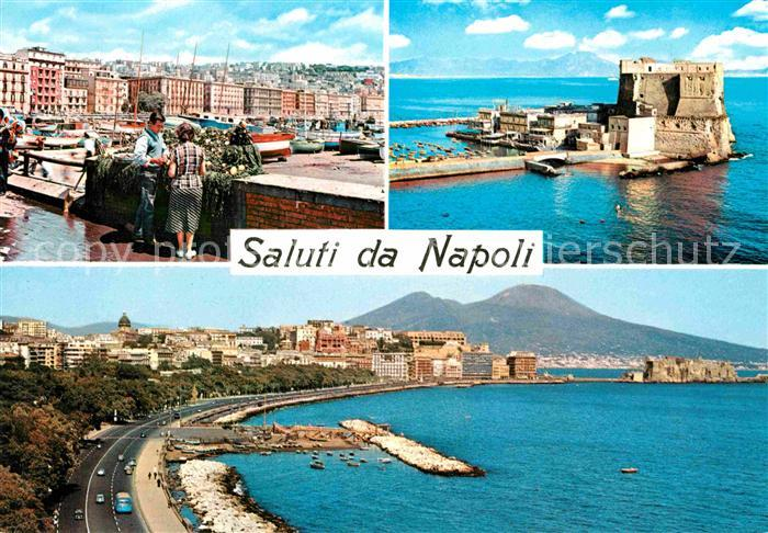 AK / Ansichtskarte Napoli Neapel Hafen Alte Festung Uferstrasse Vulkan Vesuv Kat. Napoli
