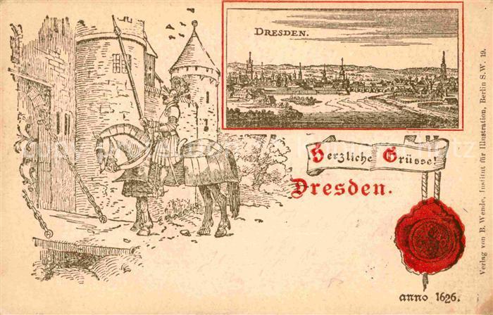 AK / Ansichtskarte Dresden Pferd Ritter  Kat. Dresden Elbe