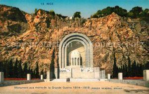 AK / Ansichtskarte Nice Alpes Maritimes Monument aux morts de la Grande Guerre Kat. Nice