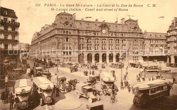 AK / Ansichtskarte Paris La Gare St Lazare La Cour et la Rue de Rome Kat. Paris