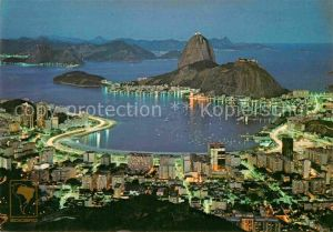 AK / Ansichtskarte Rio de Janeiro Panorama Nachtaufnahme Botafogo Bay Zuckerhut Kat. Rio de Janeiro