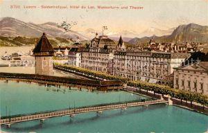 AK / Ansichtskarte Luzern LU Seidenhofquai Hotel du Lac Wasserturm und Theater Kat. Luzern