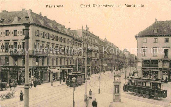AK / Ansichtskarte Strassenbahn Karlsruhe oestliche Kaiserstrasse Marktplatz  Kat. Strassenbahn