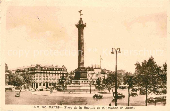 AK / Ansichtskarte Paris Place de la Bastille et la Colonne de Juillet Kat. Paris