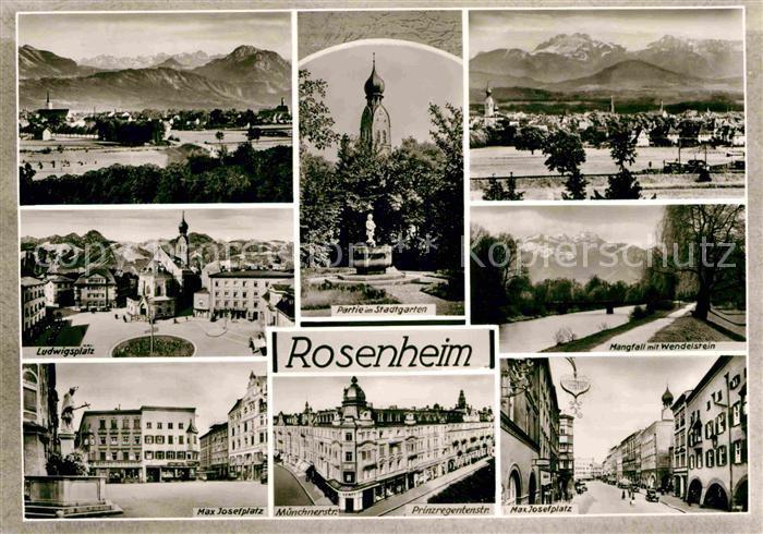 AK / Ansichtskarte Rosenheim Bayern Ludwigsplatz Stadtgarten Max Josef Platz Prinzregentenstrasse Kat. Rosenheim