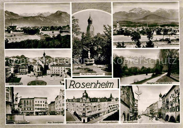 AK / Ansichtskarte Rosenheim Bayern Max Josef Platz Mangfall Wendelstein Stadtgarten Ludwigsplatz Kat. Rosenheim