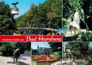 AK / Ansichtskarte Bad Harzburg Seilbahn zum Burgberg Radau Wasserfall Kurgastdame auf Esel Anlagen Kat. Bad Harzburg