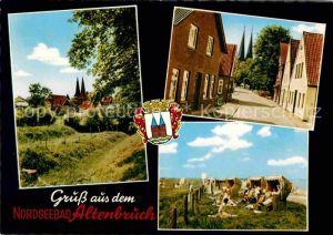 AK / Ansichtskarte Altenbruch Blick zur Kirche Strassenpartie Strand Strandkoerbe Kat. Cuxhaven