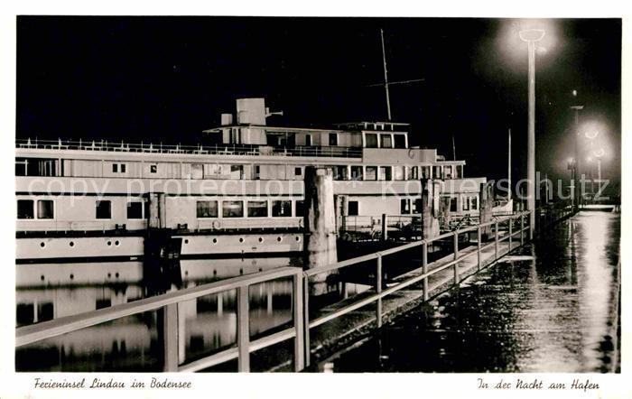 AK / Ansichtskarte Lindau Bodensee Hafenpartie bei Nacht Kat. Lindau (Bodensee)