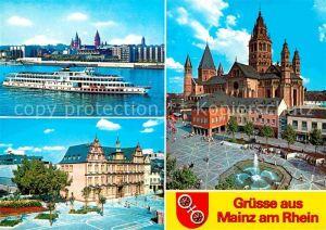 AK / Ansichtskarte Mainz Rhein Rheinufer Dom Gutenberg Museum